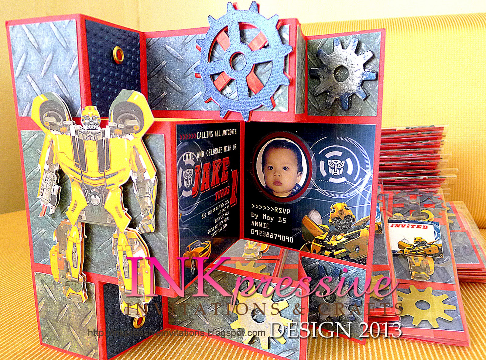 Tri shutter card Transformers Bumble Bee Invite INKPRESSIVE