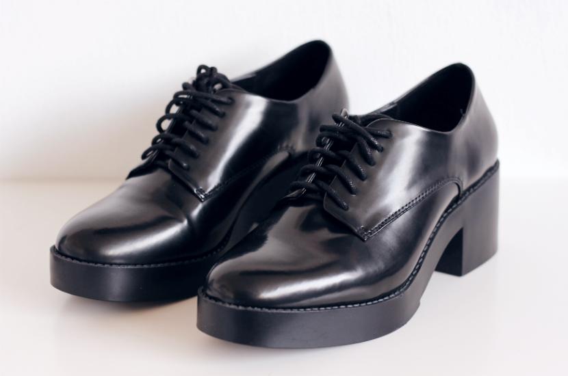 zara shoes brogues black heeled