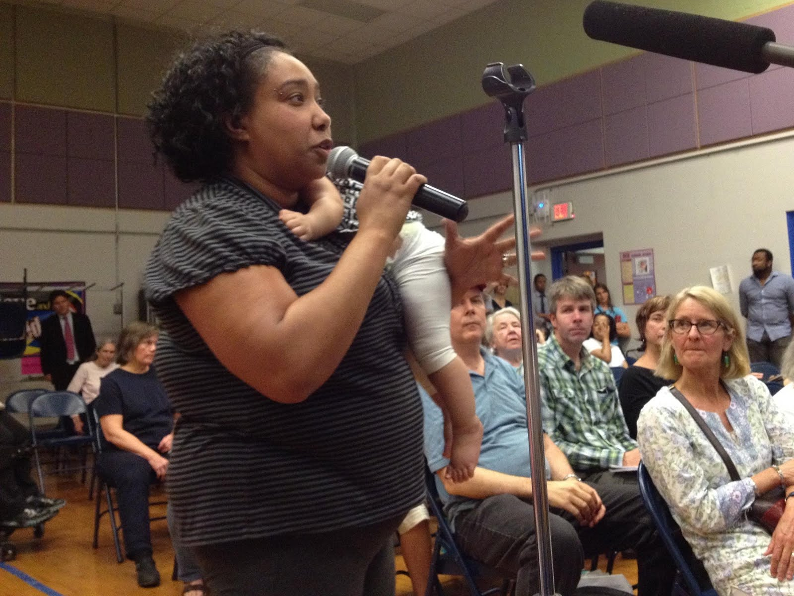 Voicing concerns at a Town Hall Meeting