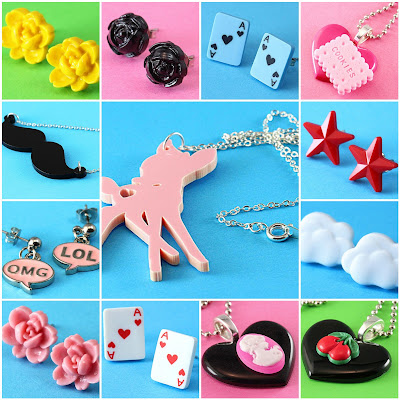 Moustache Necklace, Deer Necklace, Cherry Necklace, Kawaii Cookie Necklace, Geek Earrings & More