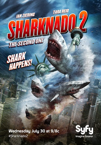 Poster Of Sharknado 2 2014 Full Movie Download 300MB In Hindi English Dual Audio 480P ESubs Compressed Small Size Pc Movie