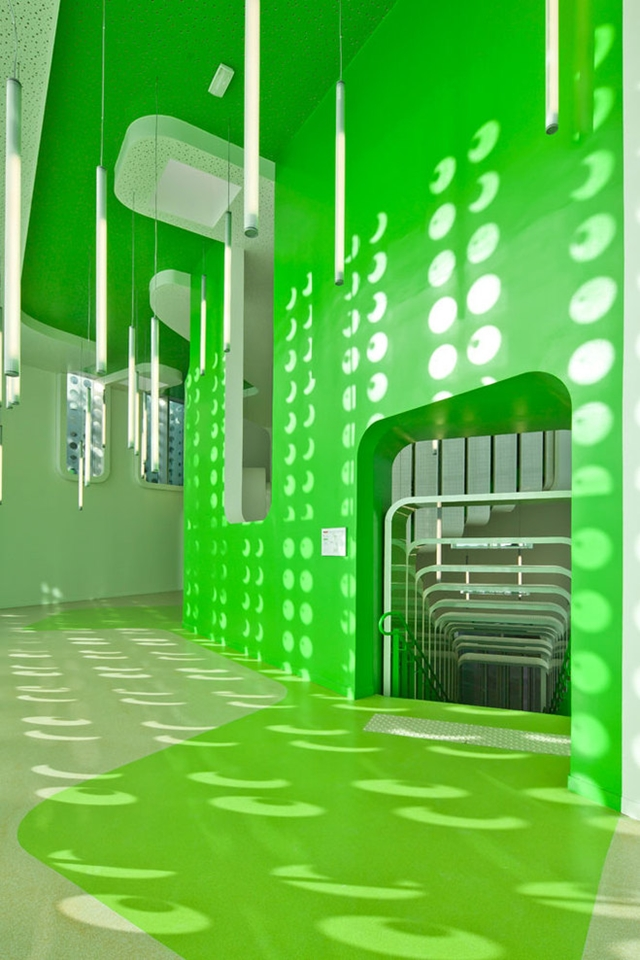 Photo of green painted hallway