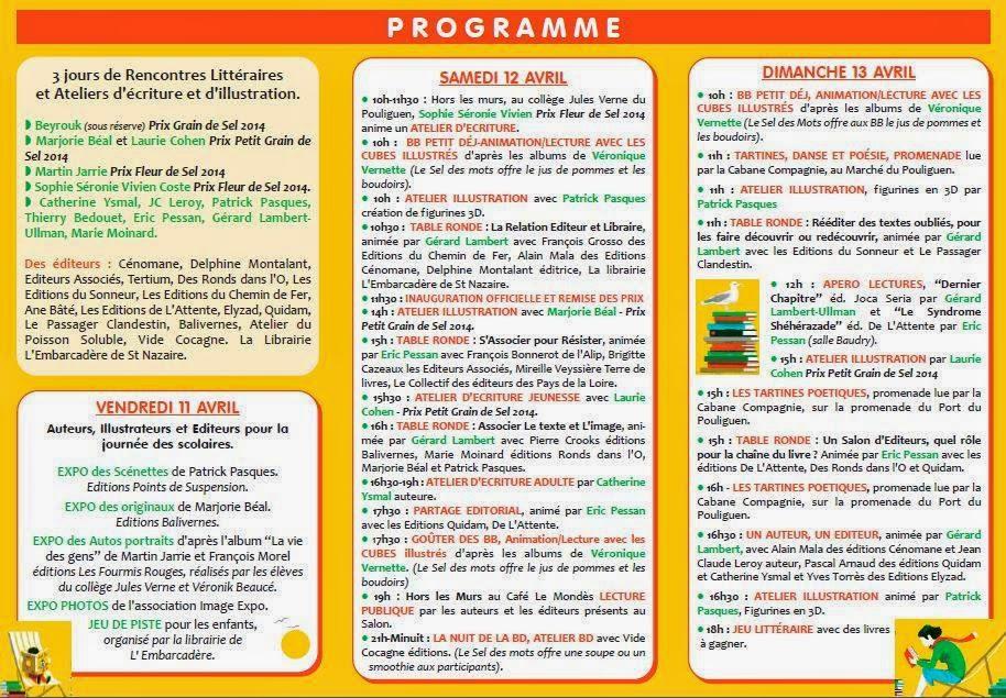 Nau Belles Rencontres 2014, Le Pouliguen : programme (11, 12 et 13 avril)