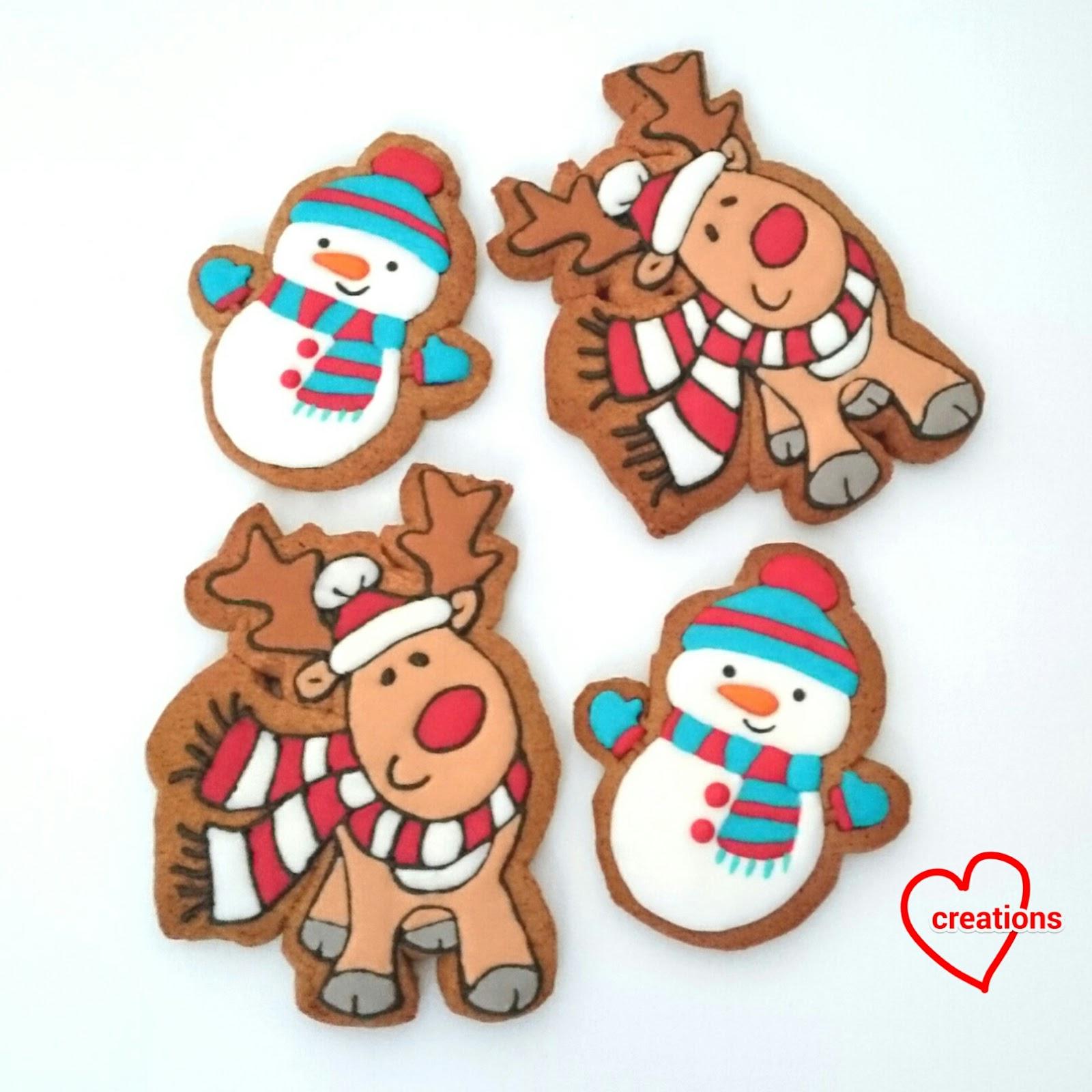 Loving Creations For You Reindeer Snowman Brown Sugar Cookies