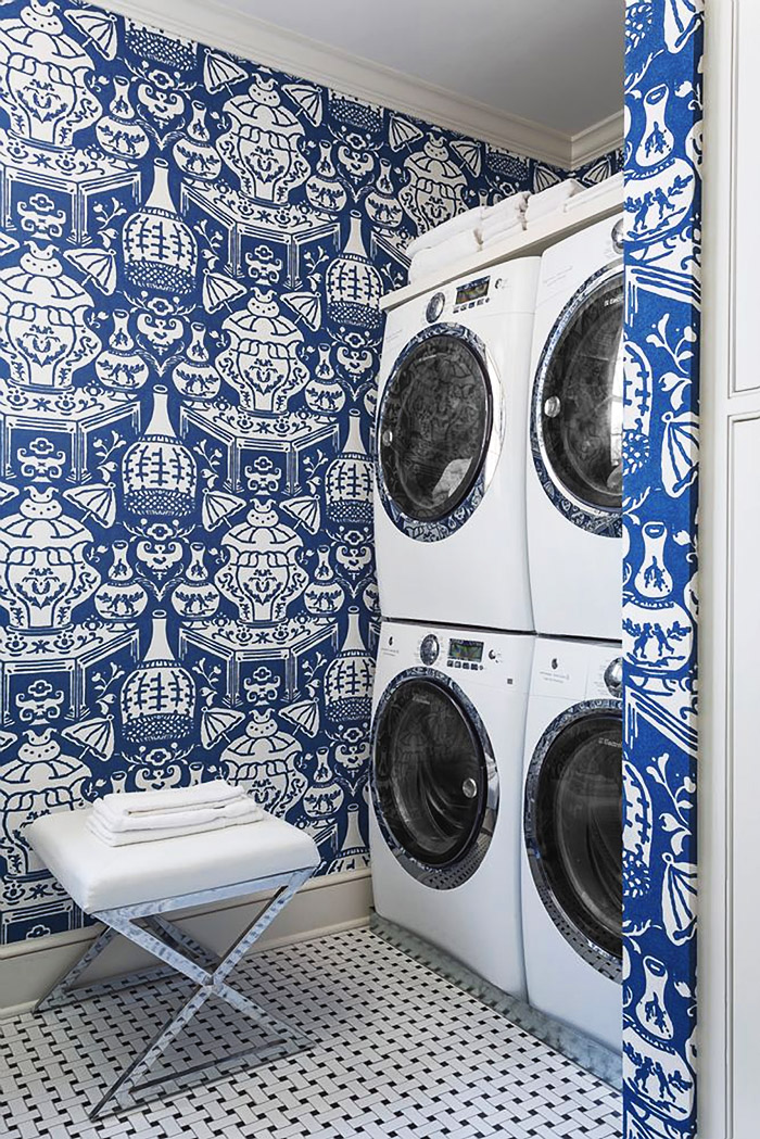 """The Vase"" wallpaper by David Hicks is amazing in this gorgeous blue and white laundry room created by Bear Hill Interiors."