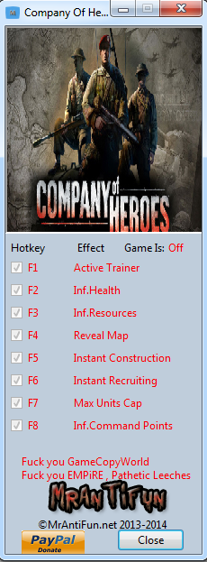 Company Of Heroes New Steam V2.700.2.42 Trainer +7 MrAntiFun