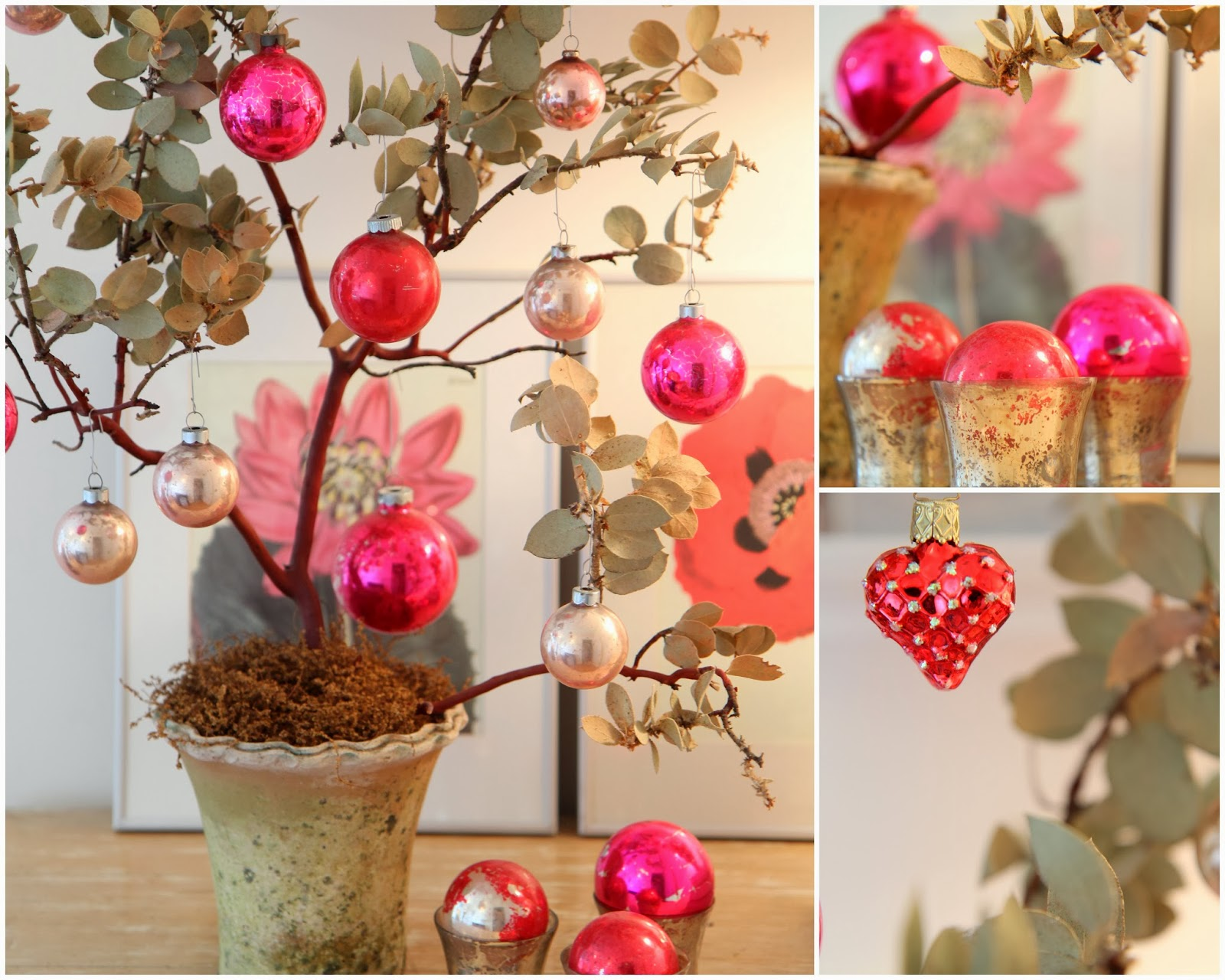 Valentine tree ornaments - Antique Glass Ornaments Bring A Pop Of Pink To My Manzanita Tree To Continue The Theme I Ve Nestled The Ornaments Into Mercury Glass Votive Candles