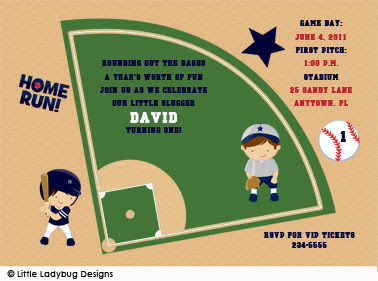 Baseball Field Birthday Invitations