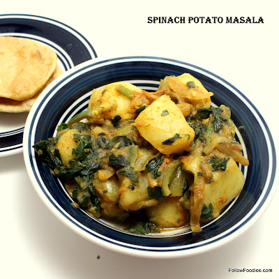 Spinach potato poriyal