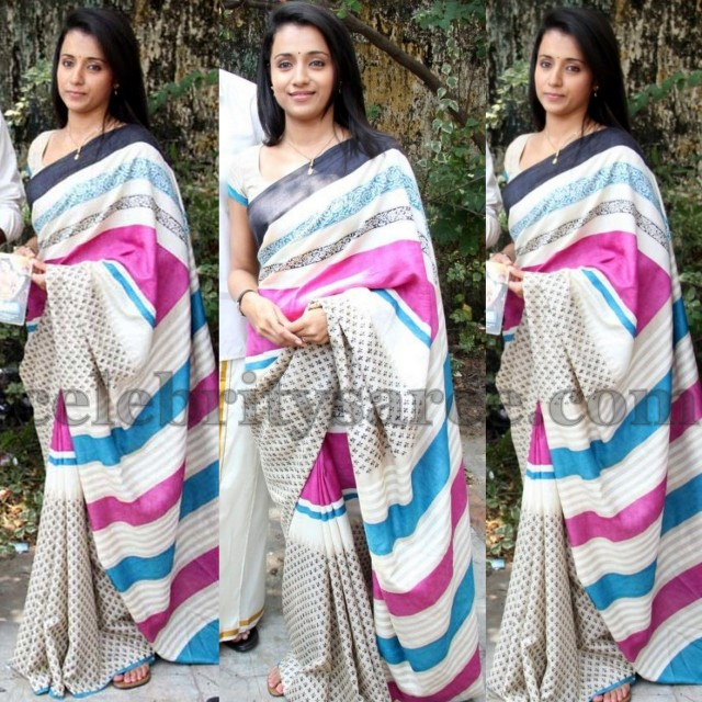 Trisha in White Handloom Saree