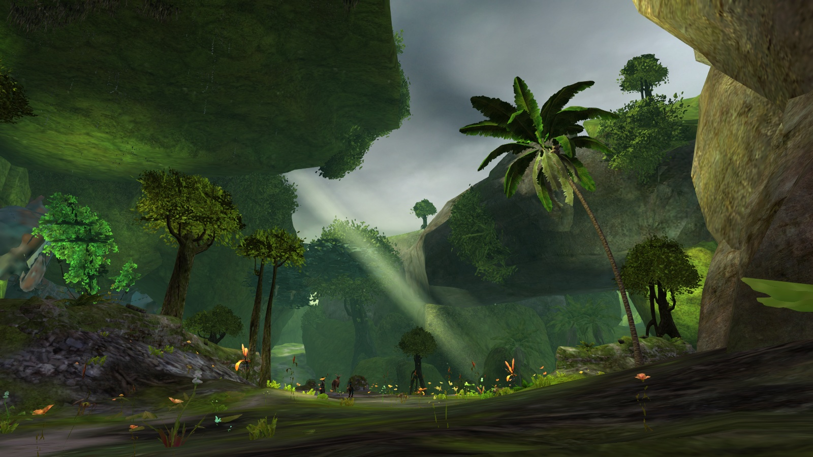 Screenshot of the Sylvari starting area, Caledon forest.