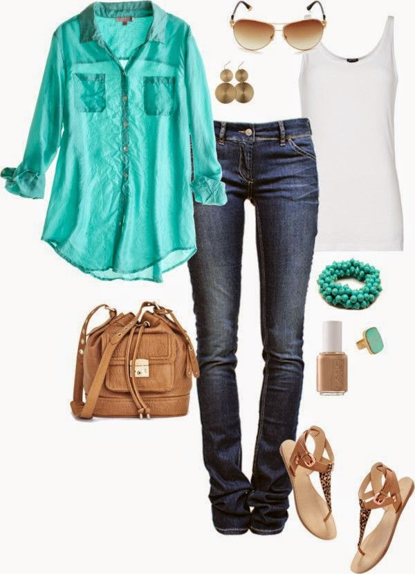 Perfect going into spring outfits with the skinny jeans for cooler weather but bright shirt and sandals!  See more http://worldcutefashion.blogspot.com/