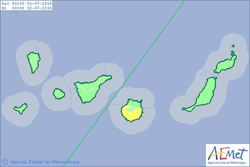 alerta amarilla calor Gran Canaria, 1 julio