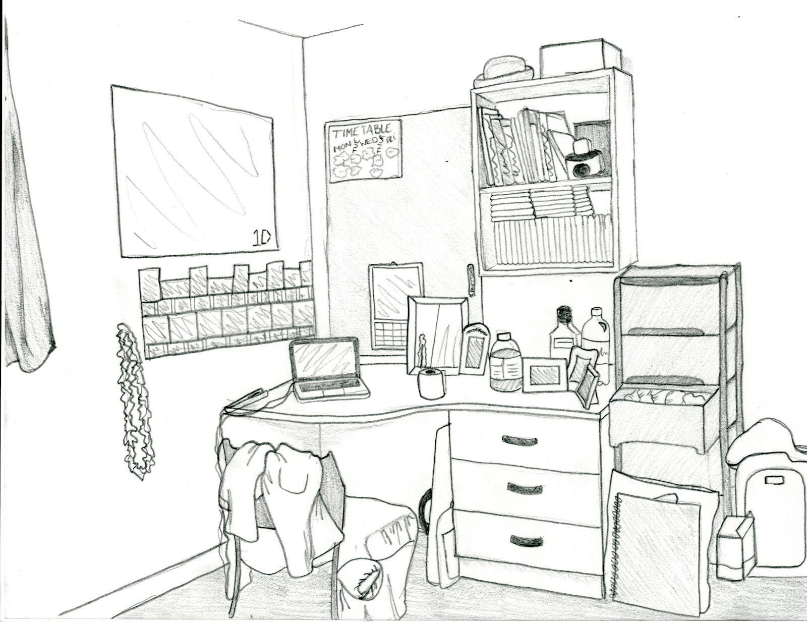 Room Drawing. My Desk.