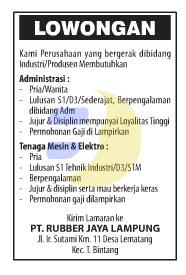 Bursa Kerja PT. Rubber Jaya Lampung