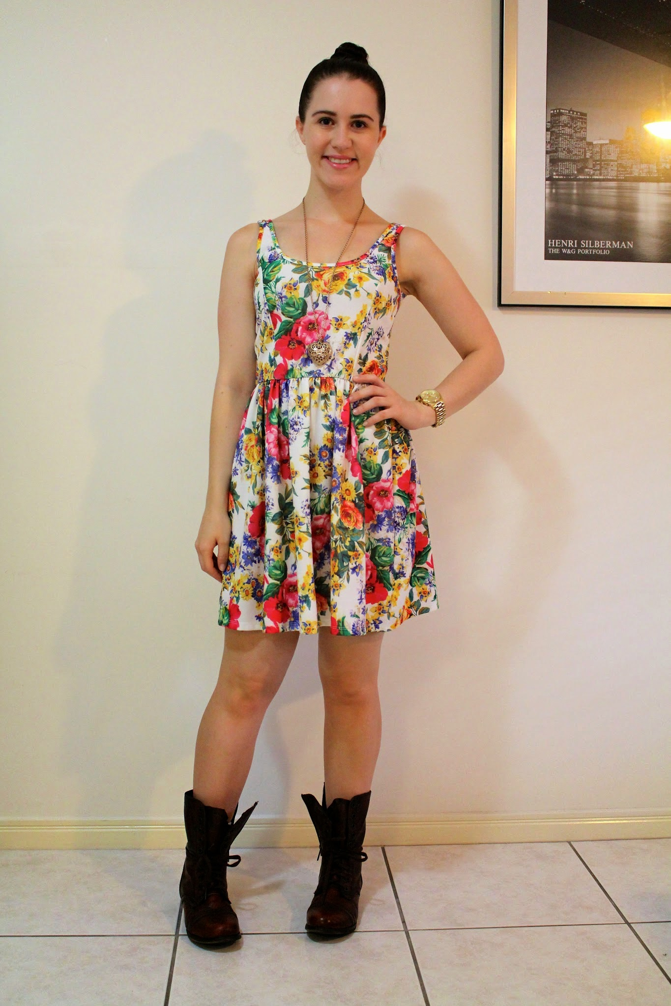 Floral skater dress, brown steve madden combat boots, gold michael kors watch, long gold heart necklace, everyday outfit, petite outfit, college outfit, uni outfit, casual outfit,