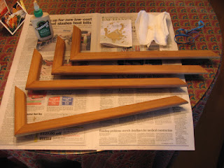 Gluing the mitered teak molding pieces together