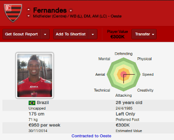 FM14 Player Profile Fernandes of Brazilian Club Ooeste