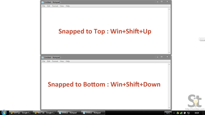 Snap a Window to Top or Bottom of the Screen