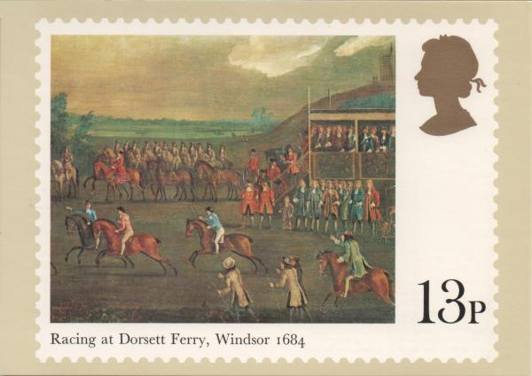 13 pence stamp card featuring horse racing painting