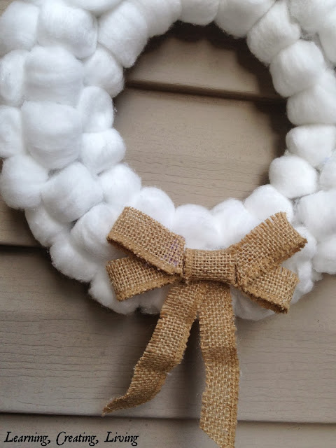 Cotton Ball Wreath {Learning, Creating, Living}