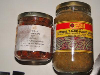 Groene sambal en sambal setan