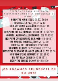 Teléfonos para Asistencia Pediátrica 24H en la Comunidad de Madrid