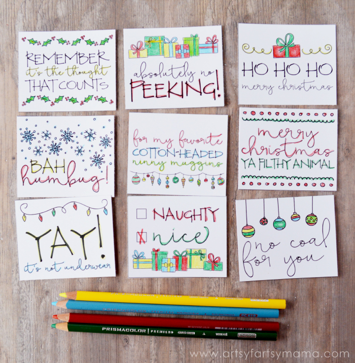 Free Printable Doodle Christmas Gift Tags at artsyfartsymama #relaxandcolor #coloringwithMichaels