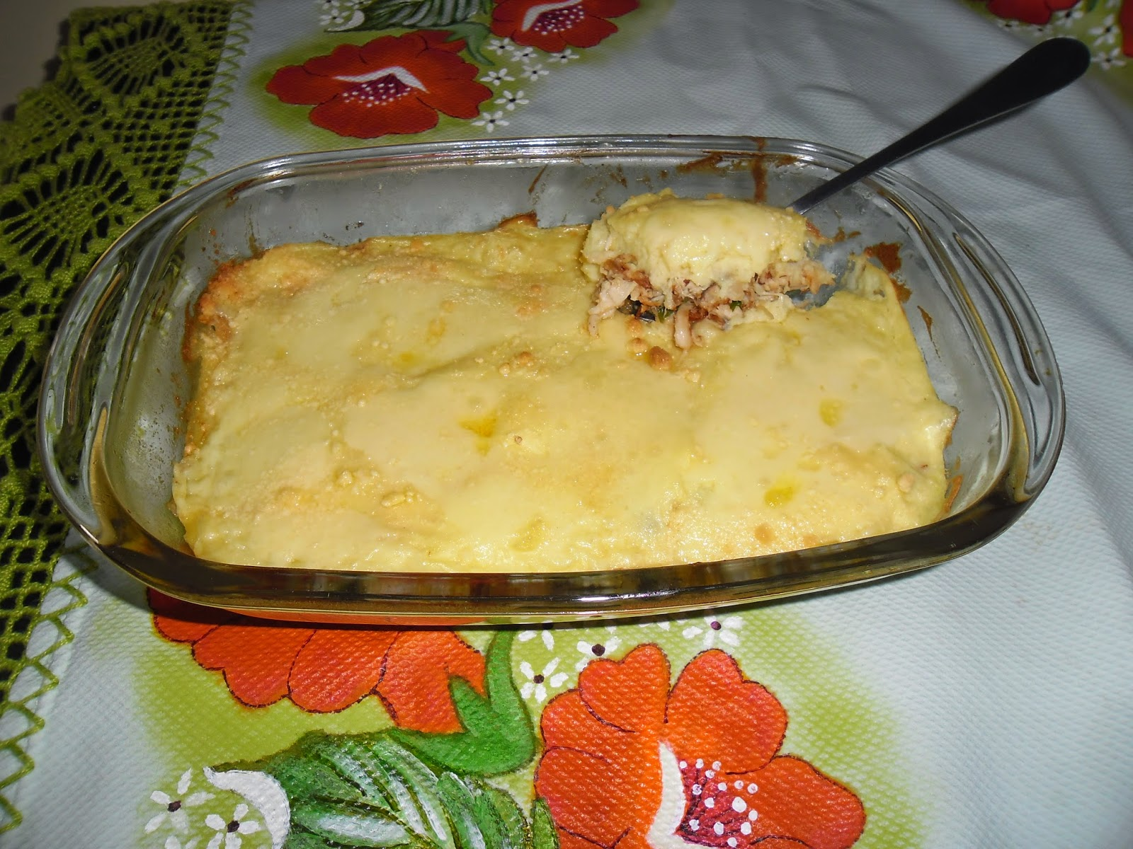 escondidinho de frango desfiado e batatas