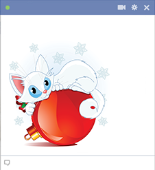 Facebook Sticker Cat on Ornament