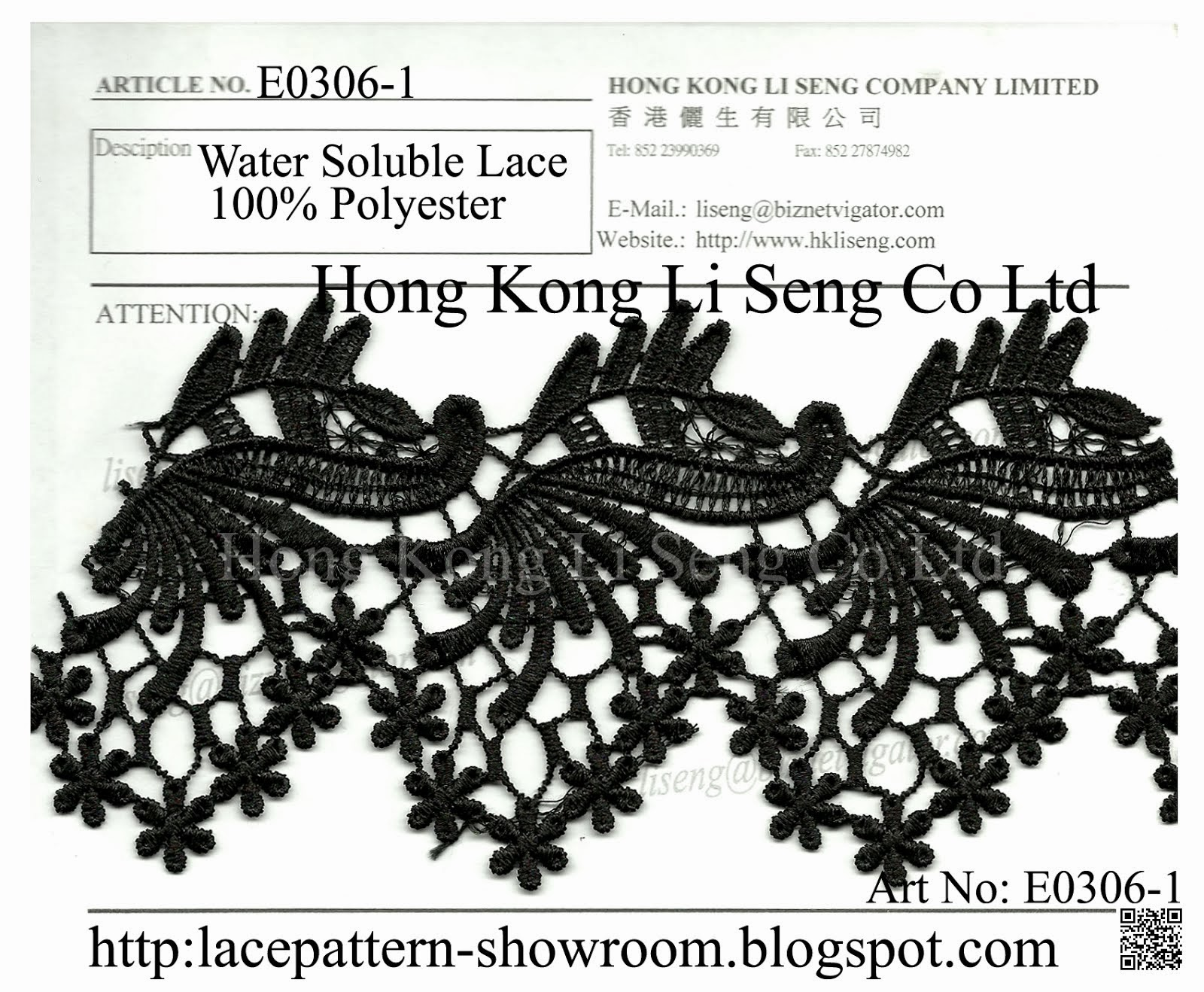 100% Polyester Chemical Embroidry Lace Water Soluble Lace - Hong Kong Li Seng Co Ltd
