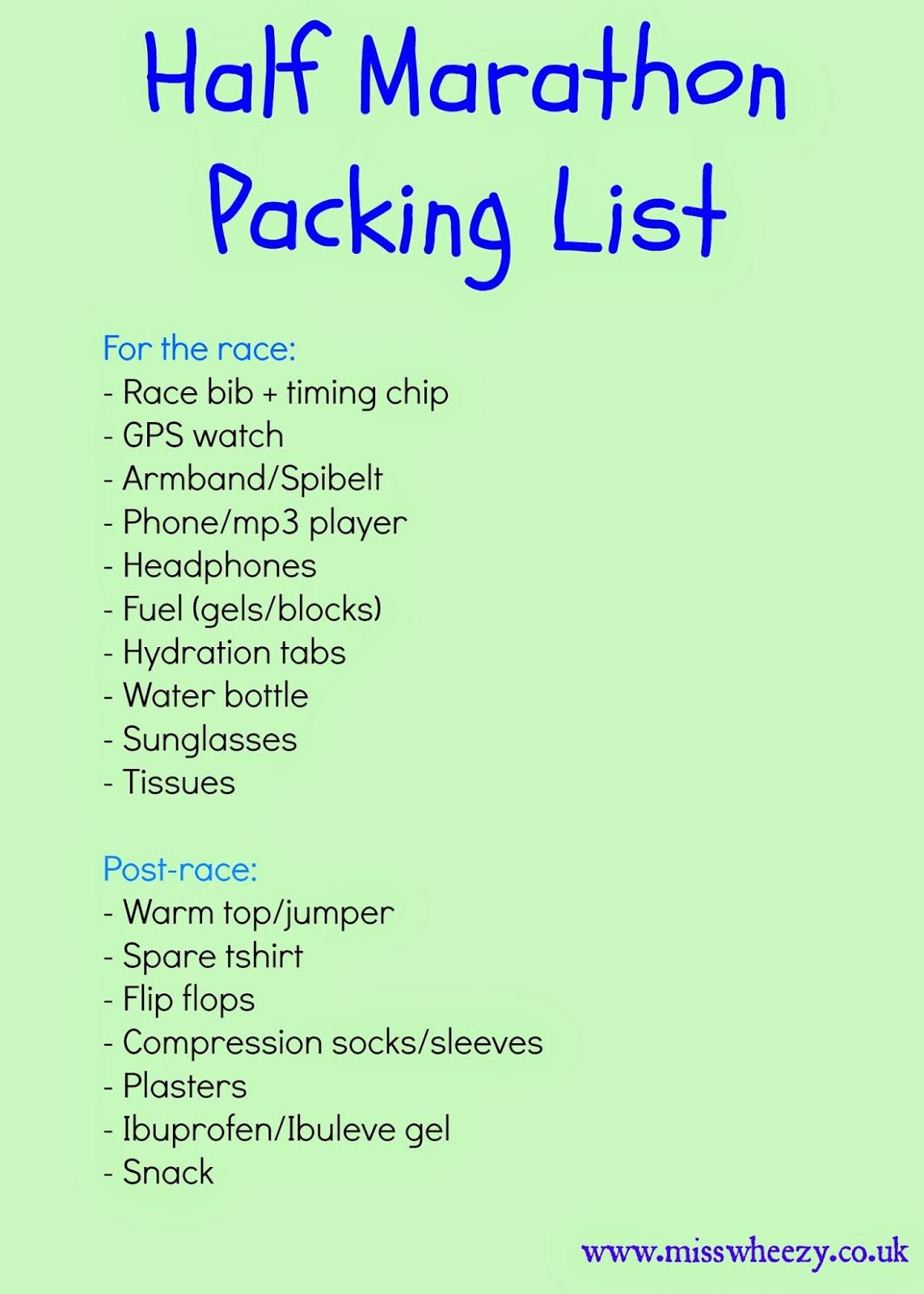 Half Marathon Race Day Packing List