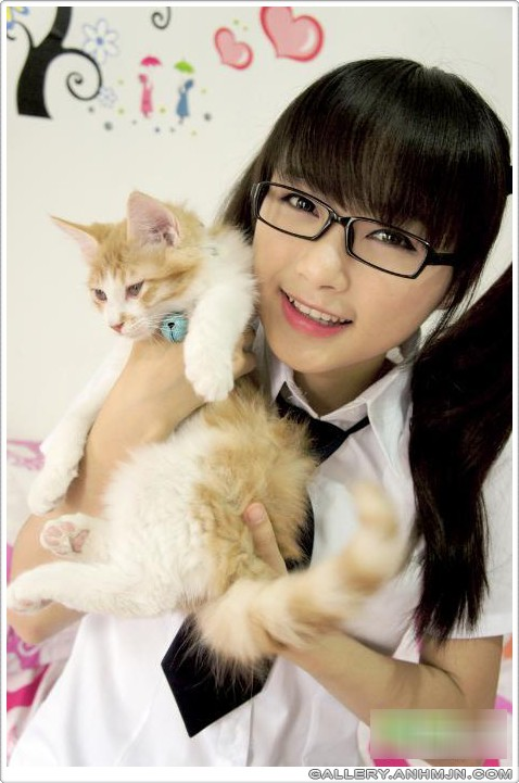 image gallary 5 nerdy girl and kitty pictures