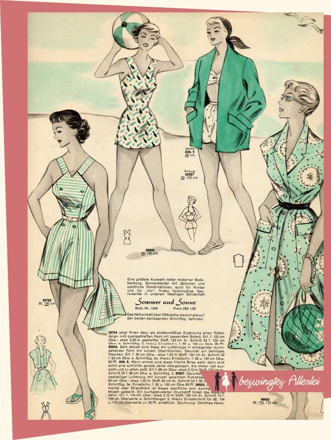 Praktische Mode 1954, Strand, Vintage