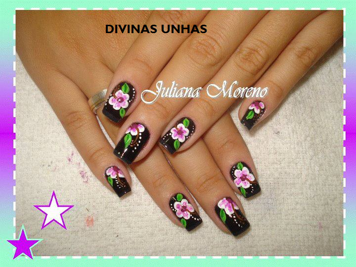UNHA DECORADA FLORAL BY JULIANA MORENO