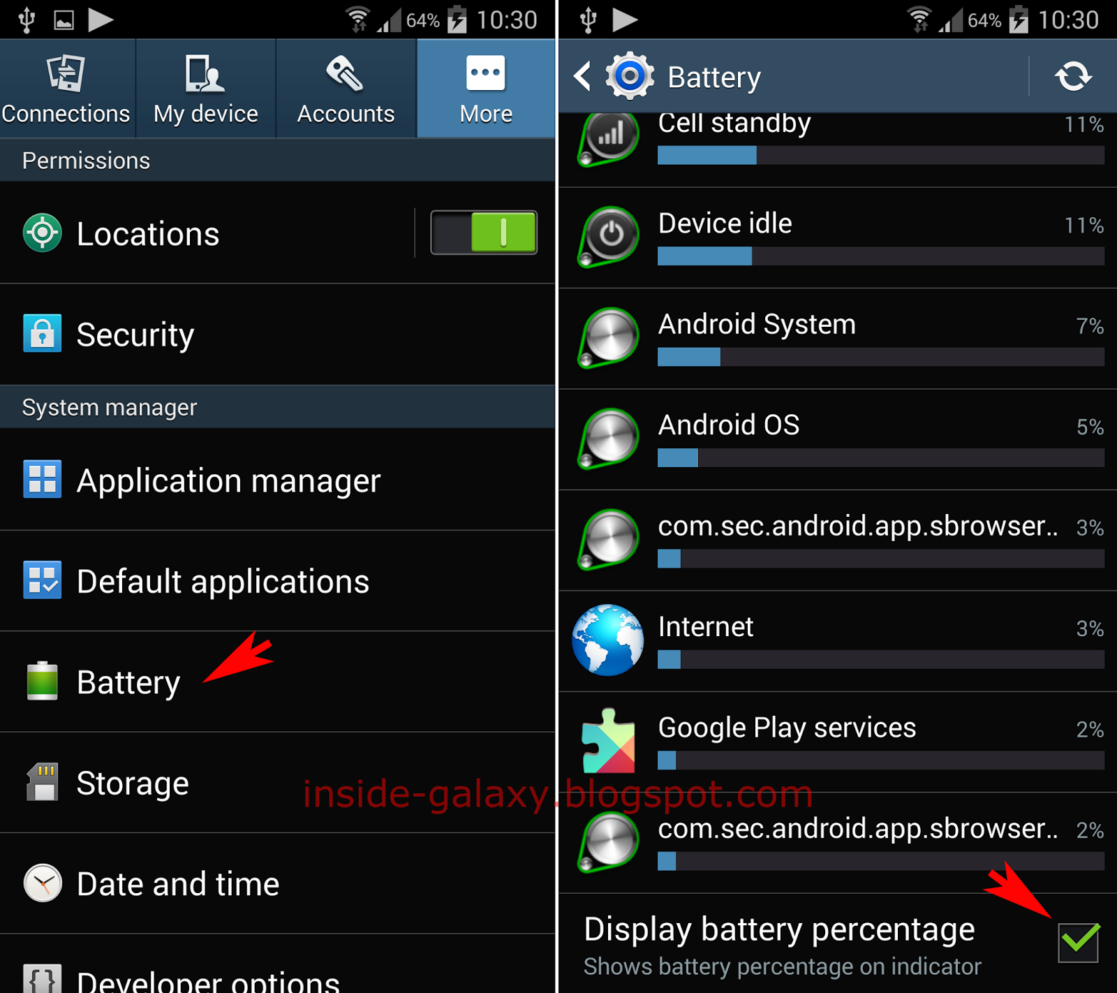 samsung galaxy s how to display or