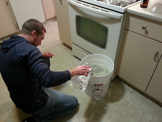 Mixing water into brewed beer wort.
