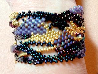 Vintage Wine - front view when worn, freeform peyote bracelet by Kay Haynes