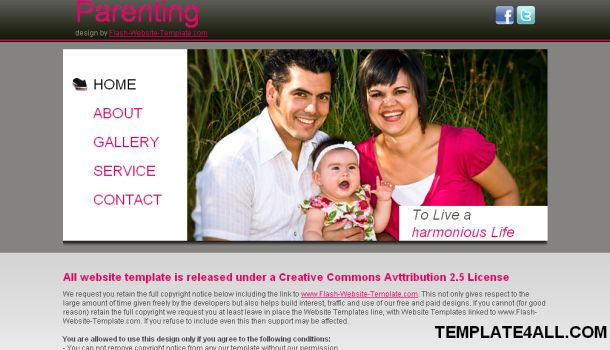 Free Family Pink Website Template