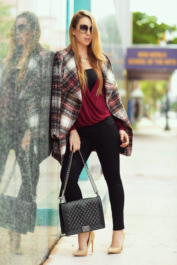 casual burgundy outfit