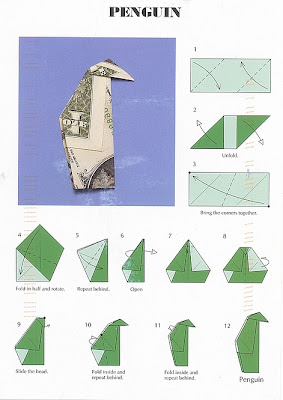 ein kleiner Pinguin Origami von John Montroll