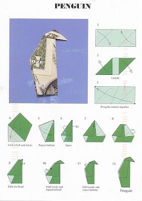 ein kleiner Pinguin Origami von John Montroll