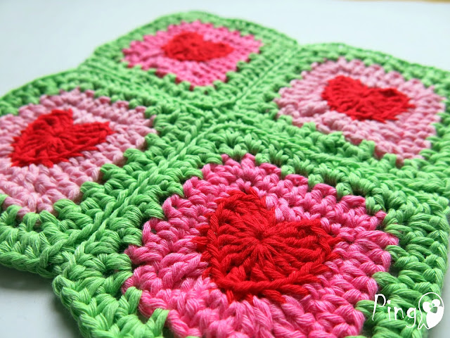 Crochet Heart Square by Pingo - The Pink Penguin