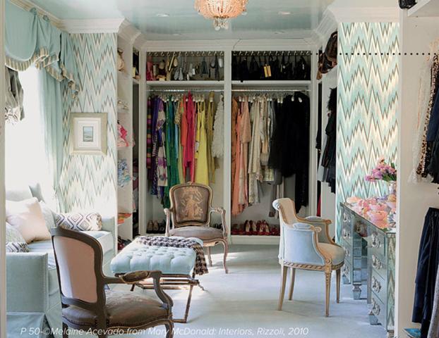 Wallpaper the inside of your closet doors to also match the inside of your closet.