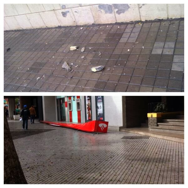 Abgerissen: Außenreklame einer Santander Bank