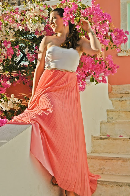 coral maxi-skirt and pink bougainvillea // outfit