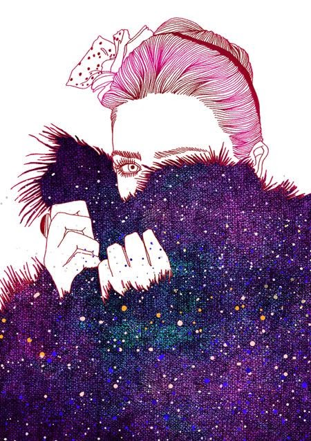 purple fur coat fashion illustration by Hajin Bae