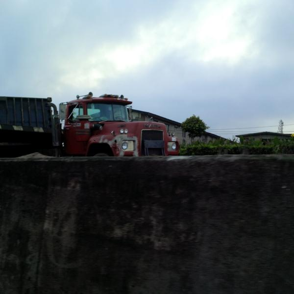Another trailer truck on Ojuelegba bridge almost fall off the bridge.