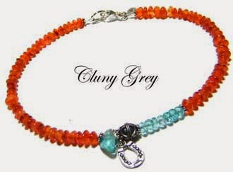 carnelian and apatite ankle bracelet