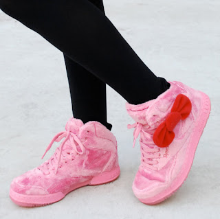 Hello Kitty pink plush Sneakers with red bow